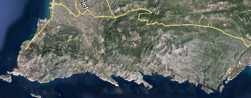 photo satellite des Calanques (source : google earth)